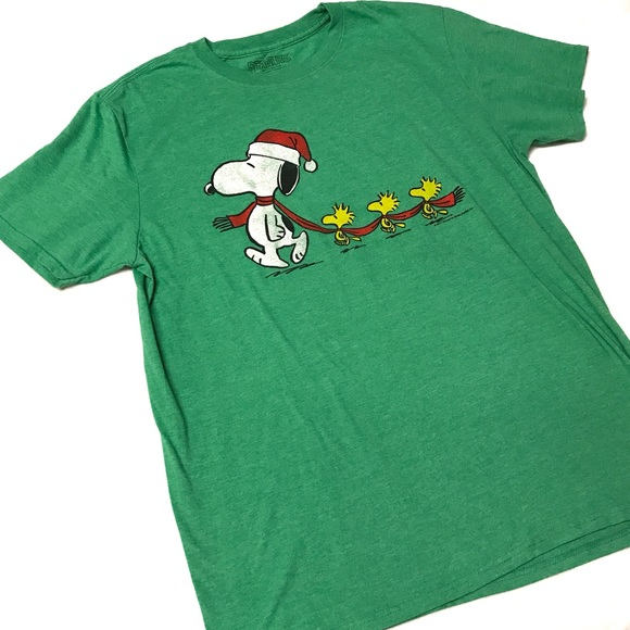 peanuts christmas green t shirt large - Peanuts Christmas Shirt